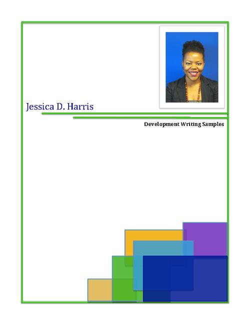 Jessica Harris - Development Writing Samples - August 2012