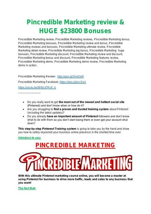 Pincredible Marketing Review & (BIGGEST) jaw-drop bonuses (2)
