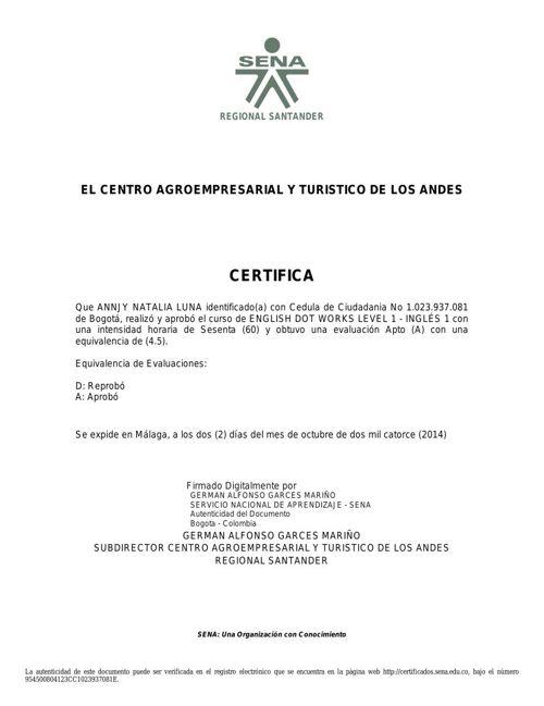 certificacion ingles 1