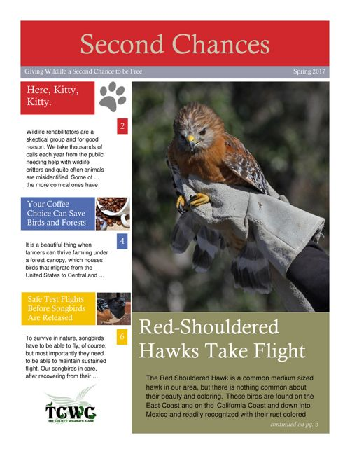 Tri County Wildlife Care,  Spring Newsletter 2017