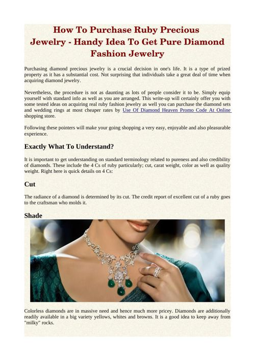 How To Purchase Ruby Precious Jewelry - Handy Idea To Get Pure D