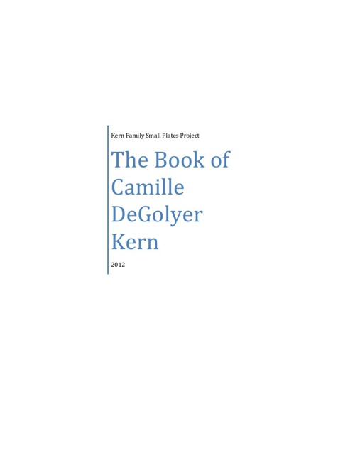 The Book of Camille DeGolyer Kern