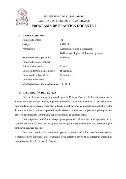 PROGRAMA DE PRACTICA DOCENTE I