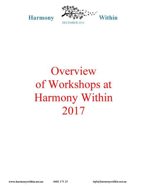 Overview of 2017 workshops