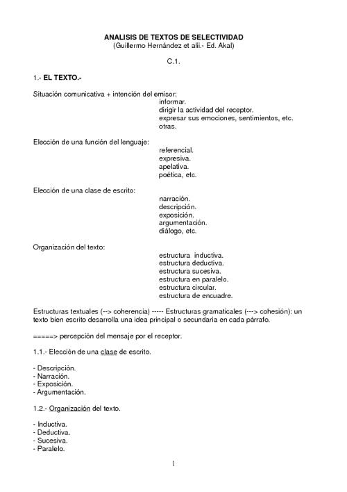 ANALISIS DE TEXTOS SELECTIVIDAD