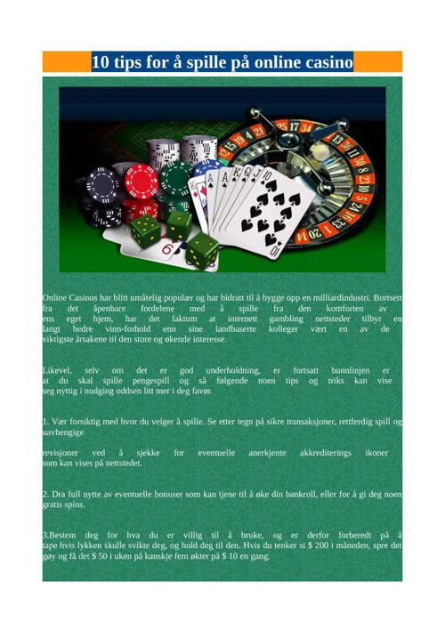 10 tips for å spille på online casino