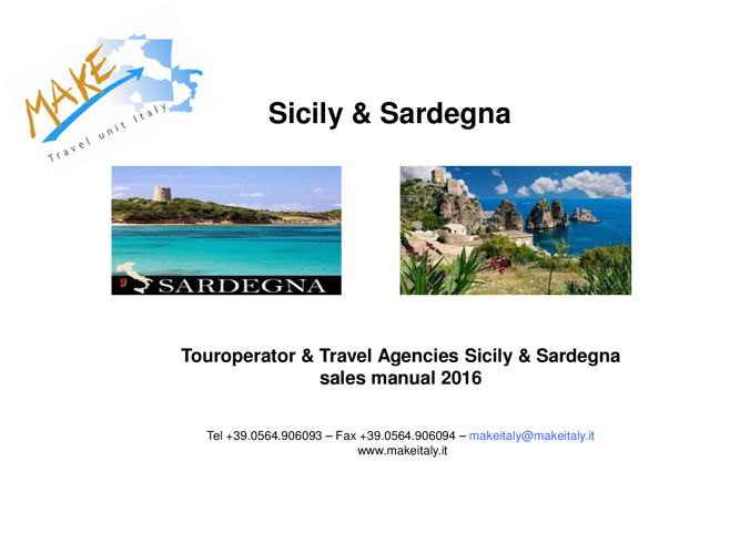 TO & Travel Agencies sales manual   Sicilia e  Sardegna