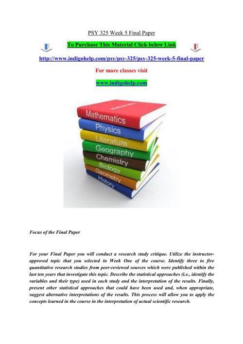 PSY 325 Week 5 Final Paper