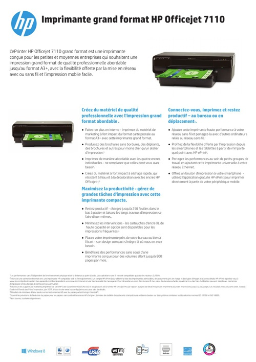 Specsheet HP 7110 printer French