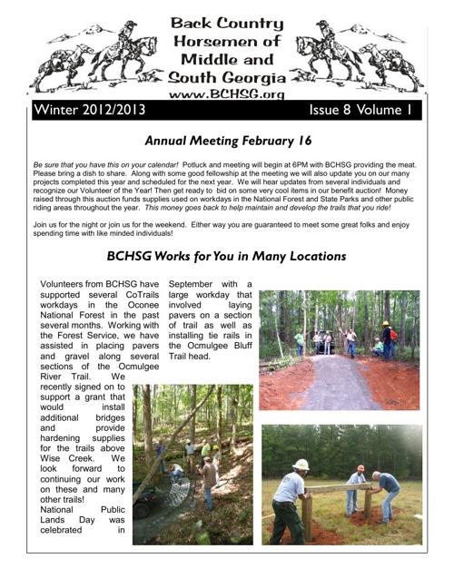 BCHSG Winter 2013 Newsletter