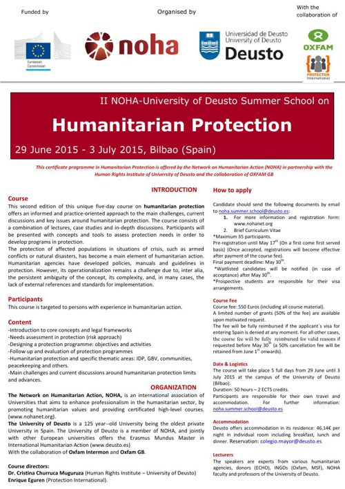II Noha-Deusto Summer School leaflet