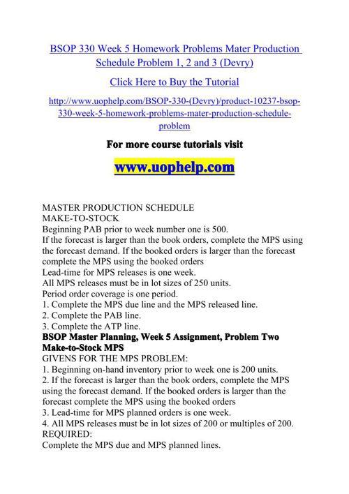 BSOP 330 Week 5 Homework Problems Mater Production Schedule Prob