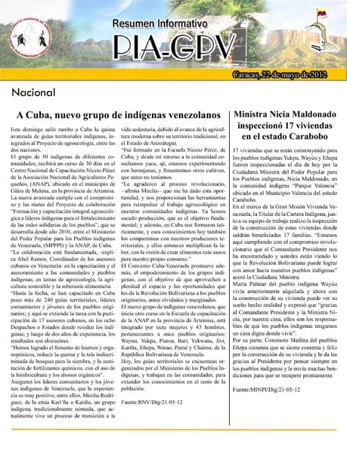 Resumen Informativo 22 de Mayo 2012