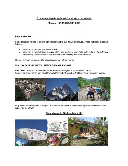 Under Ecotourism activities