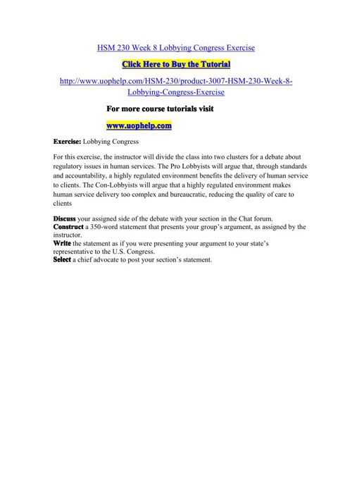 HSM 230 Week 8 Lobbying Congress Exercise