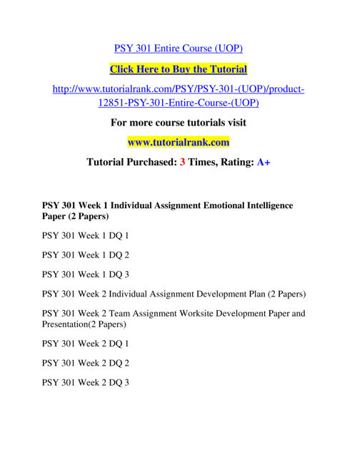 psy 301 emotional intelligence paper