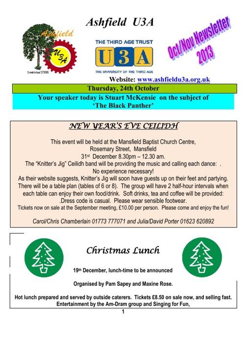 AU3A newsletter for October 2013
