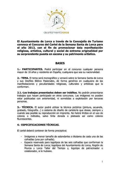 Concurso del Cartel de la Semana Santa de Lorca 2013