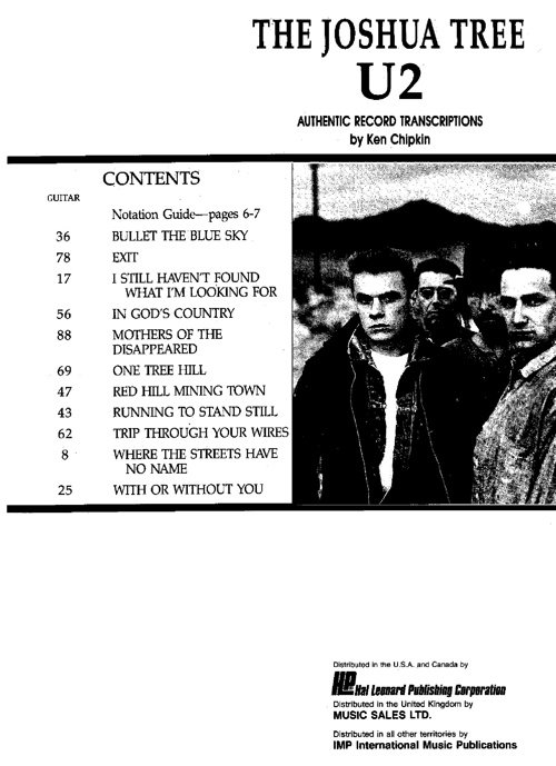 U2 - The Joshua Tree (Music Sheet)