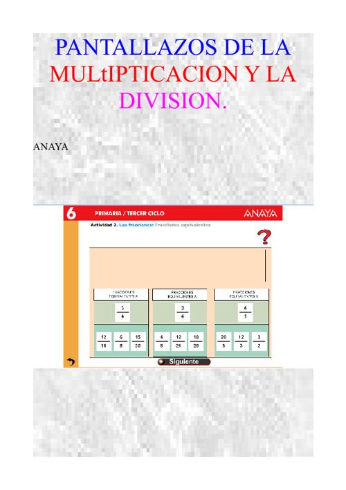 Fracciones de Divisiones y Multiplicaciones
