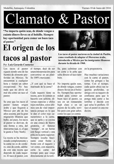 MENU Clamato y Pastor