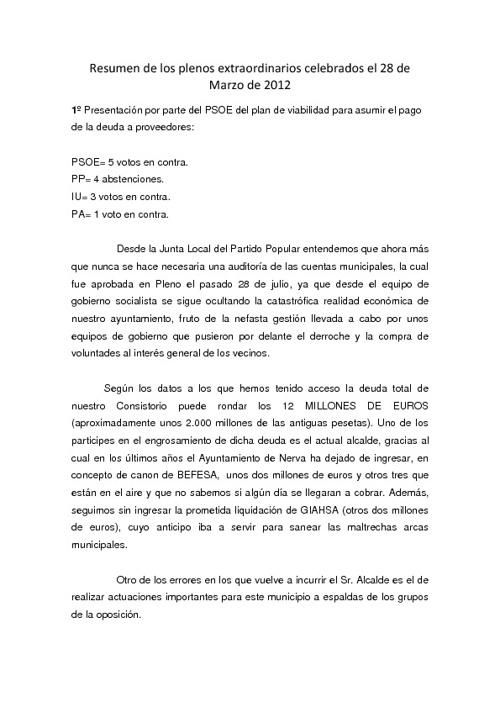 Resultado de los plenos extraordinarios celebrados el 28/03/2012