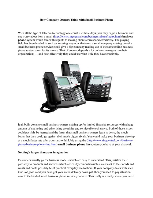 How Company Owners Think with Small Business Phone