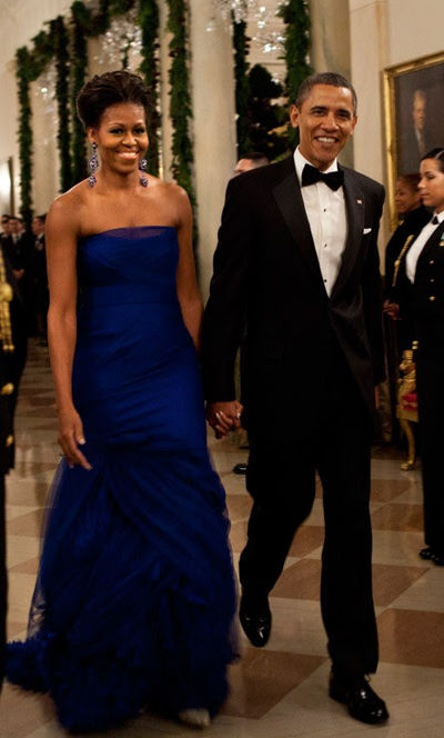 Michelle Obama dressed in a gorgeous blue gown