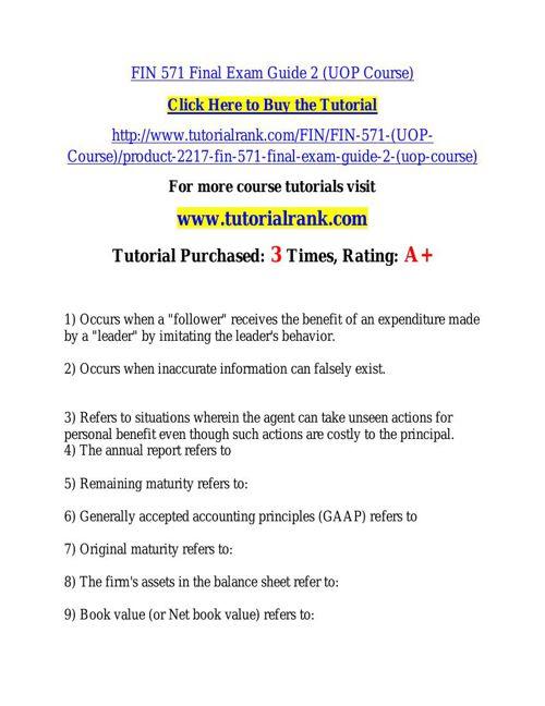 FIN 571 learning consultant / tutorialrank.com