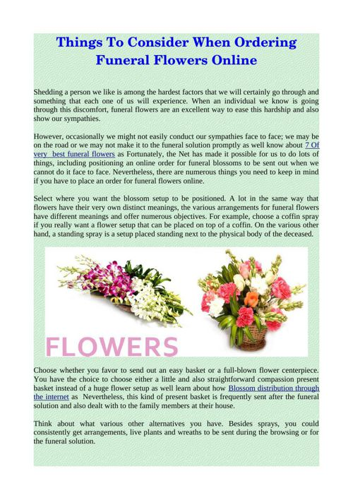 Things To Consider When Ordering Funeral Flowers Online