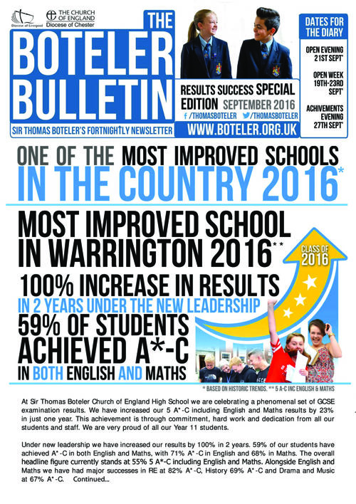 Results Special Edition of the Boteler Bulletin 2016