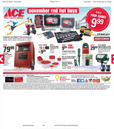 FRONTIER ACE HARDWARE NOVEMBER RED HOT BUYS 2015
