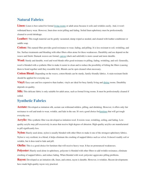 Furniture Resource Information