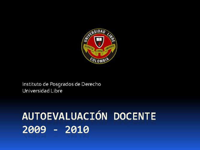 Autoevaluación Docente 2009 - 2010