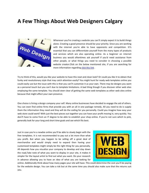 A Few Things About Web Designers Calgary