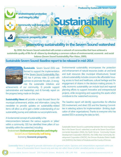 Sustainable Severn Sound Newsletter: Sping 2014