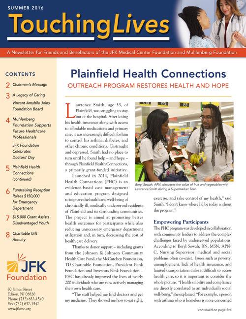 JFK Medical Center Foundation. Touching Lives. Summer 2016