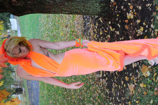 Neon Couture Hooded Gown. Original fashion design and creation b