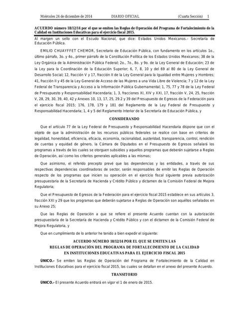 Reglas de operacion 2015