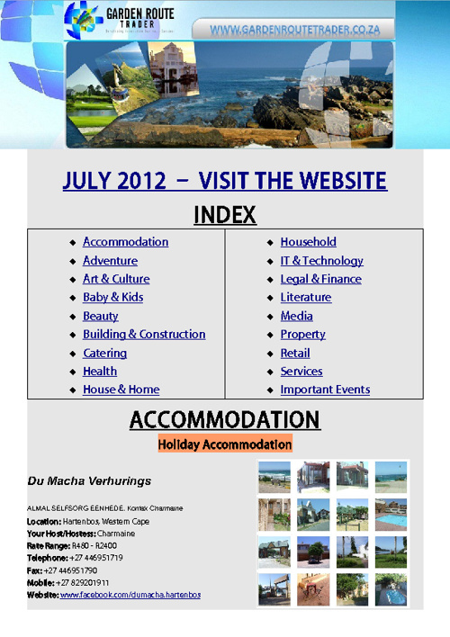 Garden Route Trader - Newsletter July 2012
