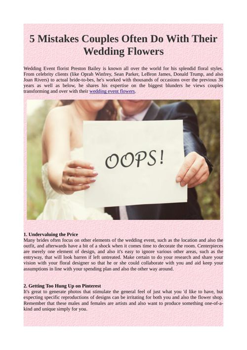 5 Mistakes Couples Often Do With Their Wedding Flowers