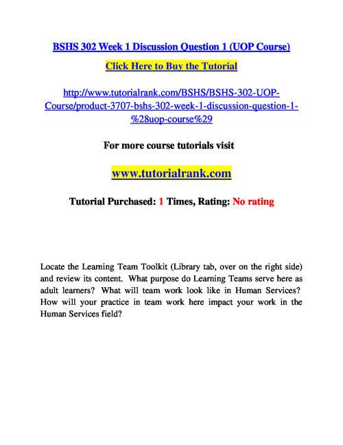 BSHS 302 Course Success Begins / tutorialrank.com