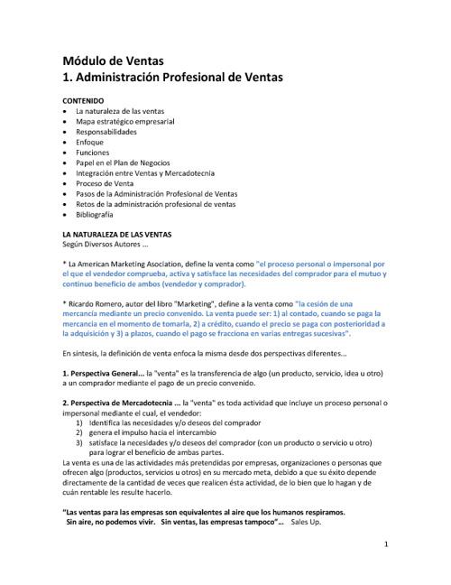Ventas - Administración Profesional de Ventas