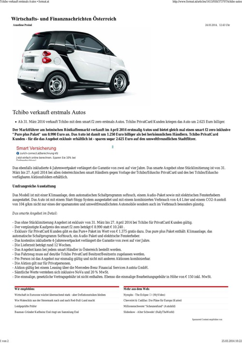 Tchibo verkauft erstmals Autos • format