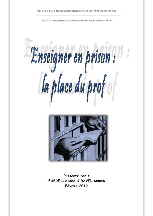 Enseigner en prison: la place du prof