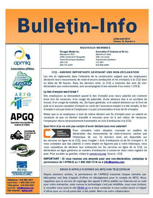 Bulletin juillet-août 2014