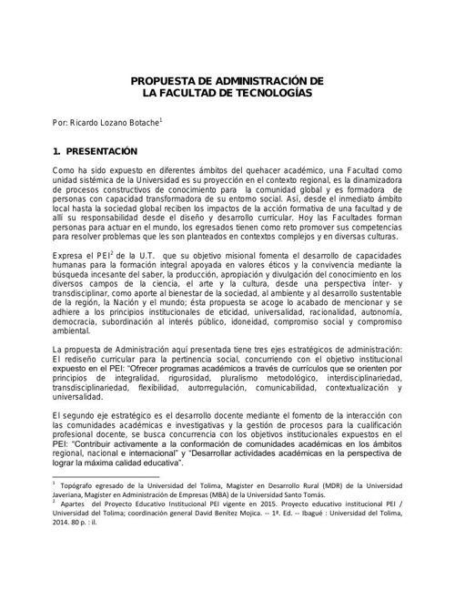 Propuesta_de_Administración_de_la_Facultad__Ricardo_Lozano_2015_