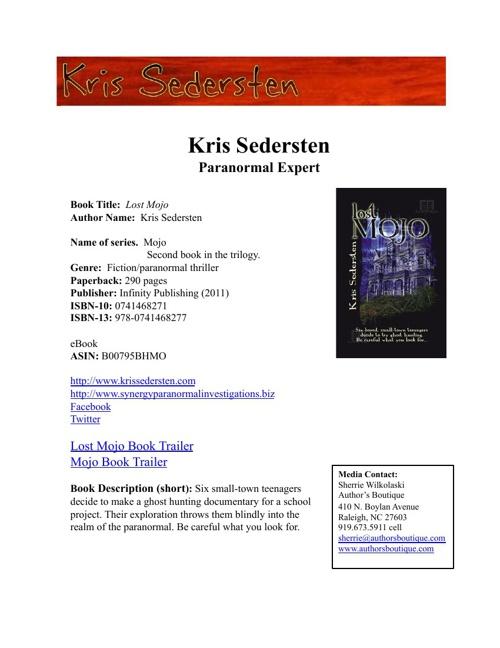 Kris Sedersten Media Kit
