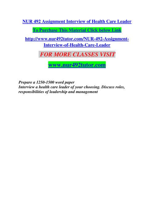 NUR 492 TUTOR Empowering and Inspiring/nur492tutor.com