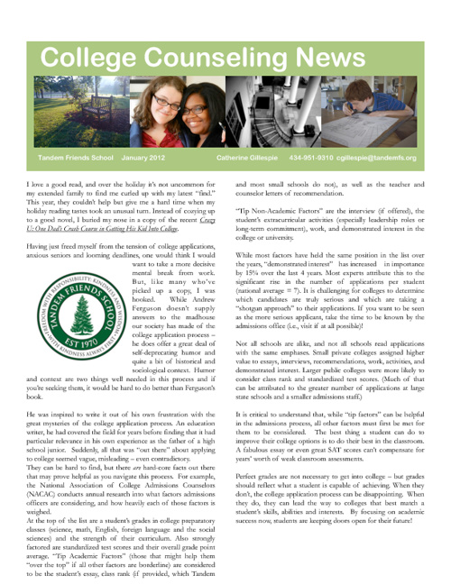 Tandem Friends School College Counseling Newsletter-January 2012
